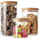 3Pcs set Glass Storage Jar Airtight Food Storage Canisters glass snack sugar tea storage tank bottle, round glass food storag