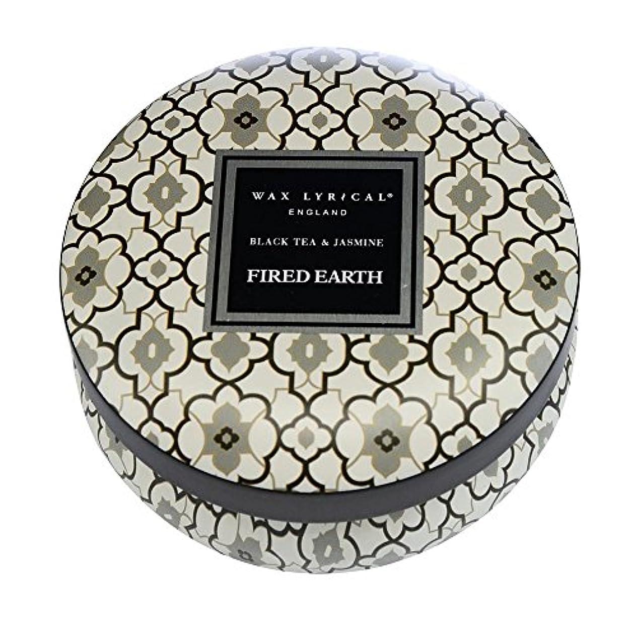 火山学者石膏甘くするWAX LYRICAL ENGLAND FIRED EARTH 缶入りキャンドル ブラックティー&ジャスミン CNFE0804