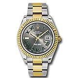 Rolex Datejust II 41グレーグリーンローマダイヤル鋼18Kイエローゴールドとダイヤモンドメンズ時計116333
