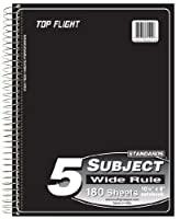 Top Flight Standards 5-Subject Wirebound Notebook 180 Sheets 3-Hole Punched Wide Rule 10.5 x 8 Inches 1 Notebook Color May Vary (31414) [並行輸入品]