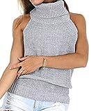 レディース セーター 背中 開き バックレス ニット チュニック ハイネック ワンピース バックリボン セクシー (XS-M/L, 灰)