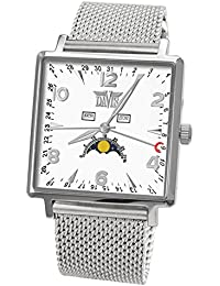 Davis-1731MB トリプル日付とムーンフェイズメンズスクエア腕時計 Mens Square triple date and Moonphase watch-White dial-Mesh Metal strap