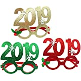 BESTOYARD 6本2019番号眼鏡新年の装飾面白いスノーフレークメガネフレームフェスティバルパーティー用品(ランダムカラー)