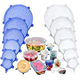 YOMYM Silicone Covers, 12 Packs of Different Sizes Silicone Cover for Foods, Reusable and Expandable Covers for Cookware and