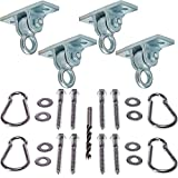 Heavy Duty Swing Hangers :: Set of 4 Playset Hangers for Wooden Swing Sets :: Complete Kit Includes Mounting Hardware, Snap Hooks & Properly Sized Drill Bit for EZ Installation, by Safe-Kidz