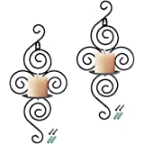 (Item 1) - RETON 2 Pack Black Iron Hanging Wall Sconce Wall Candle Holder for Home Decoration