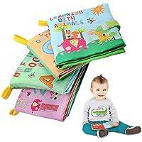 4パックソフトブックfor Babies、非毒性ファブリックアクティビティCrinkle布ブック、幼児用First Book Numbers /文字/動物/図形認識初期学習開発教育おもちゃBook