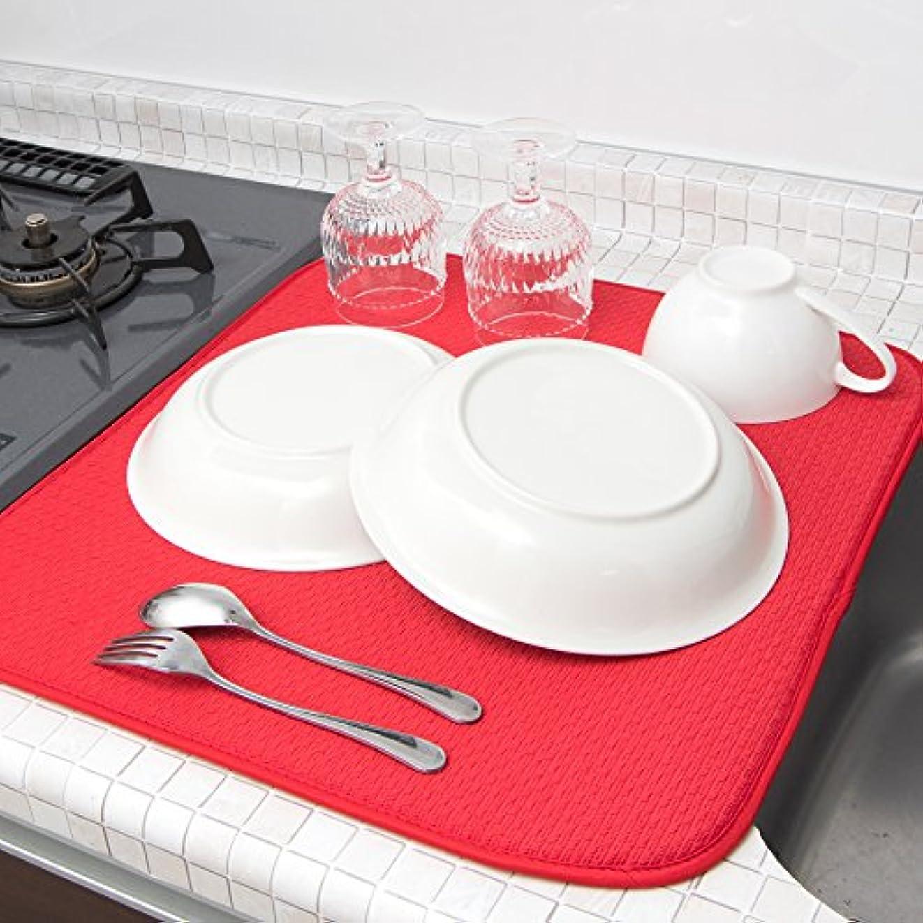 騒ぎプロトタイプリテラシーmikketa 水切りマット キッチン 食器 大判 速乾 吸水 レッド 抗菌 防カビ 加工 全8色