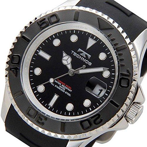テクノス TECHNOS ダイバー クオーツ メンズ 腕時計 T4418SB ブラック [並行輸入品]