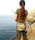 フィッシング バッグ 釣り用 ヒップ バック ショルダー 2way 多機能 収納 ロック式カラビナ付(迷彩)