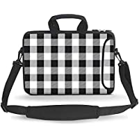 HAOCOO Stylish Art Ultraportable Water Resistant Neoprene Laptop Bag Sleeve Case with Padded Handle, Adjustable Shoulder Strap & External Side Pocket, Fits Various Laptops Black and White Buffalo Check Black and White Buffalo Check 15.6 Inch