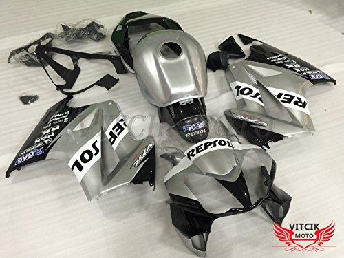 VITCIK (フェアリングキット 対応車種 ホンダ Honda VFR800 RC46 2002 - 2012 VFR800 RC46 02 - 12) プラスチックABS射出成型 完全なオートバイ車体 アフターマーケット車体フレーム 外装パーツセット(シルバー & ブラック) A007