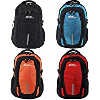 Camel Mountain - 38L School Backpack Travel Daypack Hiking Laptop Nylon Bag Black | Blue | Red | Orange (Black)