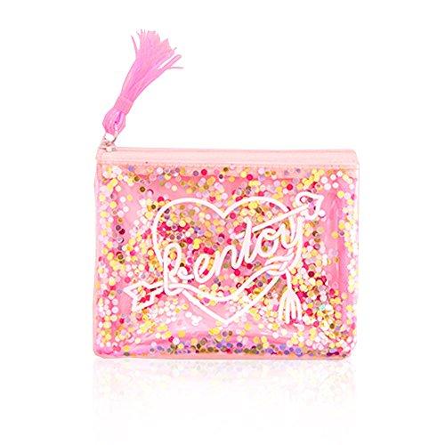 (moin moin) 化粧 ポーチ メイク ケース コインケース ラメ ホログラム グリッター が流れる ピンクタッセル ハート 透明 ビニール 小物入れ 防水 ( mini ピンク )