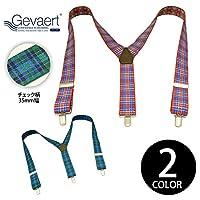 (ゲバルト) GEVAERT サスペンダーチェック Y型 gvt016 3.5cm Green