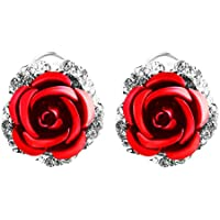 Niome Womens Delicate Rose Flower Rhinestone Ear Stud Earrings Red