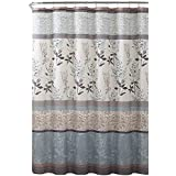 VCNY Home Ashley Light Blue Beige Grey Canvas Fabric Shower Curtain: Contemporary Floral Bordered Damask Design, 72 by 72 Inc