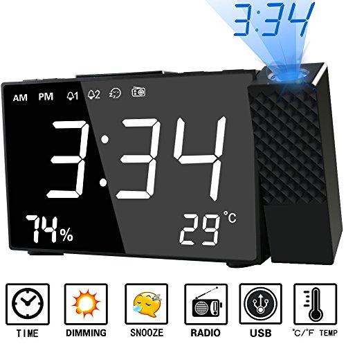 HQQNUO 目覚まし時計 置き時計 投影 時計 FMラジオ付き 大音量 投影180°調整可能 20個FMメモリー可能 温湿度表示 携帯充電可能