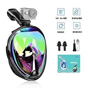シュノーケルマスク ダイビングマスク 2019新型 シュノーケリングマスク フルフェイス型 180°のワイドビュー 超広角 曇り止め 浸水防止 スポーツカメラ取付可能 自由に呼吸可能 初心者向け 男女兼用