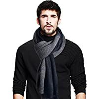 Men's Long Scarf Soft Warm Thick Knit Winter Scarves Black Grey