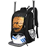 MATEIN Baseball Backpack, Softball Bat Bag with Shoes Compartment for Youth, Boys and Adult, Lightweight Baseball Bag with Fence Hook Hold TBall Bat, Batting Glove, Helmet, Caps, Teeball Gear, Black