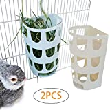 Rabbit Hay Holder Rack 2-Pcs,Food Feeder Bowl Hanging in Pet Cages for Bunny Chinchilla Guinea Pig Rat,Timothy Grass Dispenser-Random Color
