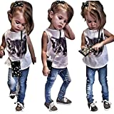 BJHG ORIGINALS Little Big Girls Dress Cat T-shirt Tops + Jeans Denim Pants Set Clothes Outfits
