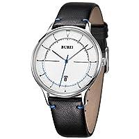 BUREIユニセックススリムミニマリストWrist Watches with Largeホワイト面日付カレンダーミネラルクリスタルレザーバンド standard size ホワイト