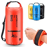 (40L, Orange) - BFULL Waterproof Dry Bag 10L/20L [Lightweight Compact] Roll Top Water Proof Backpack 2 Exterior Zip Pocket Kayaking, Boating, Duffle, Camping, Floating, Rafting, Fishing