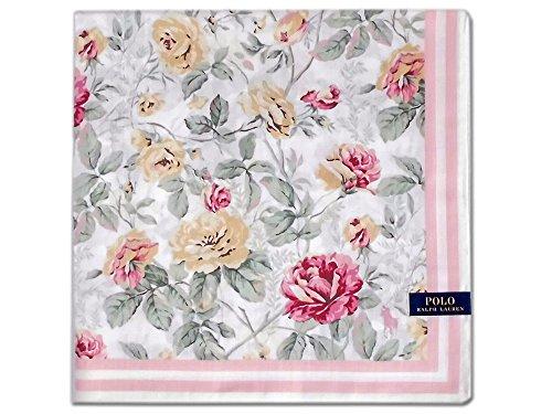 [60]:ポロ ラルフローレン ハンカチ レディス ホワイト地 薔薇柄 バラ 綿100% 日本製 50cm