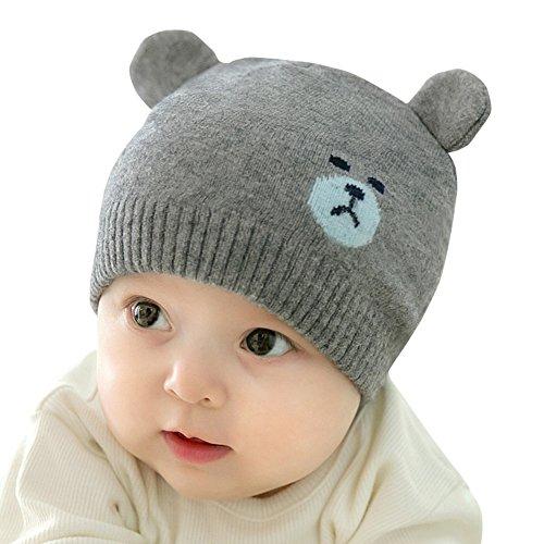 (よキーよ)Yokeeyo ニット帽 毛糸 おクマさん 熊耳 新生児帽子 ベビー用帽 赤ちゃん キッズ 帽子 男の子 女の子 男女児 秋冬 防寒 防風 スタイリッシュ
