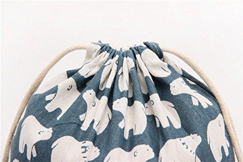 PRISM 巾着袋 ( 大 中 小 3点セット )コットン おしゃれ 布 小物 雑貨 (シロクマ)