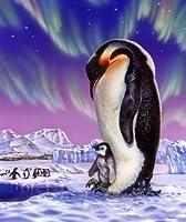 "Royal Plush Extra Heavyクイーンサイズミンク毛布–Cuddly Penguins ( 79"" x 85"" )"