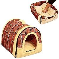 ペット用寝袋 犬猫 犬用ベッド 寝袋 可愛い ペットハウス ベッド スリッパ型 (L 60CM*45CM, Brown)