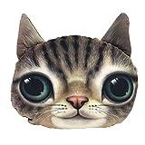 癒やし系 アニマル 顔 猫 クッション 肌触りがきもちいい 抱き枕 インテリア 02、ブラウン