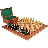 フランス語Lardy Stauntonチェスセットin Ebonized Boxwood & Boxwoodマホガニーボード&ボックスパッケージ – 3.25