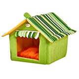 weeklly ペット ハウス 室内 猫ベッド 犬ハウス 犬小屋 三角屋根 折りたたみ 犬猫 ソファ サメ型 猫ソファー マット付き 洗える (S, 緑)