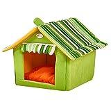 weeklly ペット ハウス 室内 猫ベッド 犬ハウス 犬小屋 三角屋根 折りたたみ 犬猫 ソファ サメ型 猫ソファー マット付き 洗える (L, 緑)