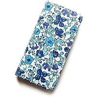 iPhone X ケース 手帳型 リバティ メドゥ (ブルー)ワントーンシリーズ SHOKO MIYAMOTO おしゃれ かわいい マグネット無しでカード安全 スマホケース アイフォンケース Liberty