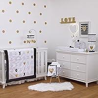 NoJo NoJo - XOXO - 4-Piece Crib Bedding Set Black White Gold [並行輸入品]