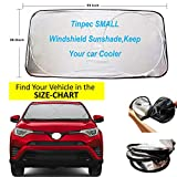 Tinpec Windshield Sun Shade,Blocks UV Rays Sun Visor Protector,Exact Fit Size for Cars, SUVs, Trucks and Vans,Fits Windshields of Various Sizes,Keep Your car Cooler (59x28.5inch)