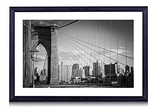 [해외]뉴욕~ 브루클린 다리~ 건물~ 미국 - 나무의 검은 색 액자 - 벽 그림 벽 소파 배경 그림 벽 예술 사진의 장식 그림 벽화 - 흑백 - (40cmx30cm)/New York~ Brooklyn Bridge~ Building~ USA - Wooden Black Photo Frame - Wall Picture Hanging Sofa Ba...