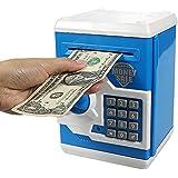 HUSAN 貯金箱 おしゃれ プレゼント お札 硬貨 おもちゃ お子様 ミニATM ギフト 可愛い(ブルー/ホワイト)