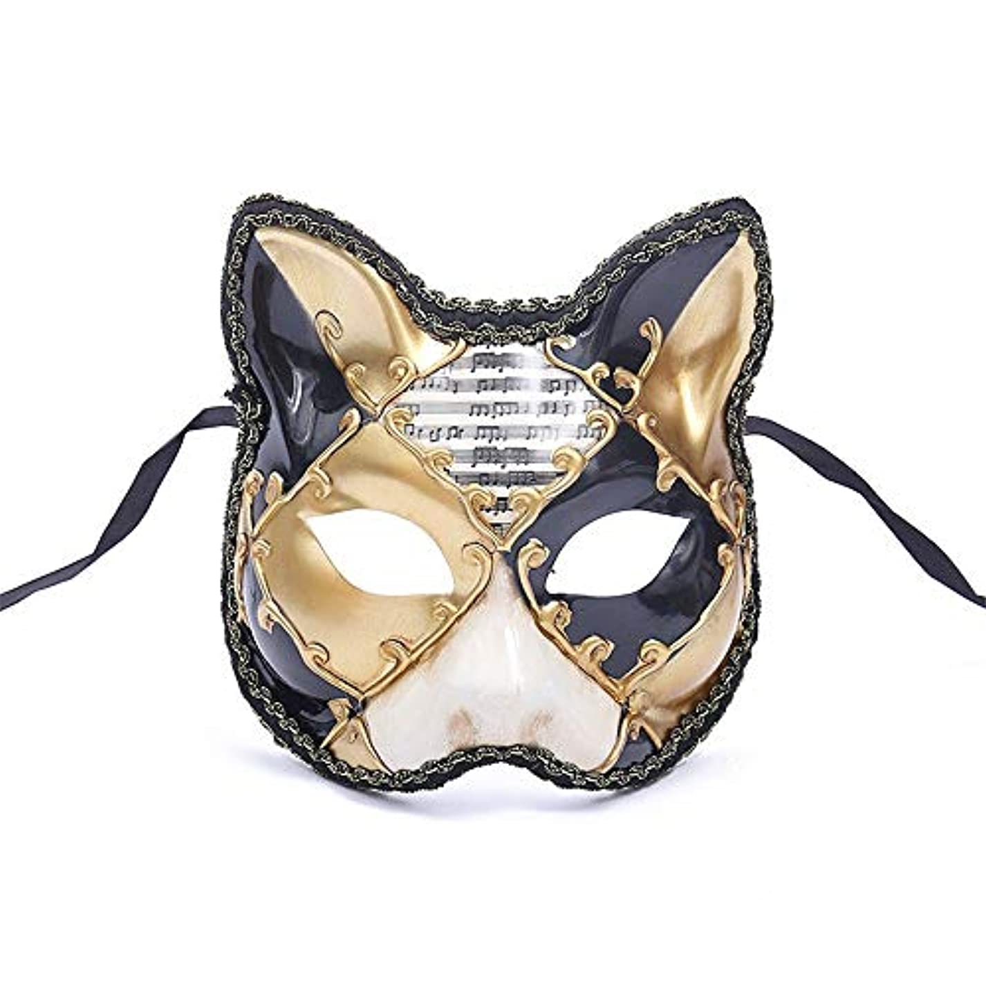 無秩序スリップシューズ令状ダンスマスク 大きな猫アンティーク動物レトロコスプレハロウィーン仮装マスクナイトクラブマスク雰囲気フェスティバルマスク ホリデーパーティー用品 (色 : 黄, サイズ : 17.5x16cm)