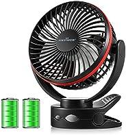 【2020年最新改良版】KEYNICE usb电风扇 台式风扇夹 充电式 usb风扇 超强风 静音 风量4档调节 360度角度可调节 长时间连续使用 带LED灯功能