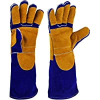 NKTM 電気溶接作業用の手袋 革製 五本指 ガーデンニング、溶接、BBQなどに大活躍 熱や磨耗に強いグローブ blue+yellow