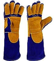 NKTM 電気溶接作業用の手袋 革製 五本指 ガーデンニング、溶接、BBQなどに大活躍 熱や磨耗に強いグローブ