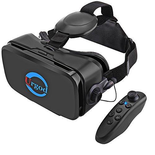 Urgod 3D VRゴーグル 最新型 イヤホン搭載 Bluetoothコントローラ付属 3dvrメガネ VRヘッドセット (ブラック)