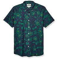 Goodthreads Men's Standard-Fit Short-Sleeve Printed Poplin Shirt, Black Line Floral Small