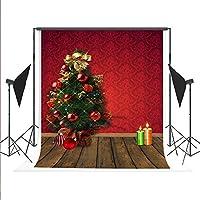 Kate 5x7ft/(1.5x2.2m) クリスマス撮影用 木製 洗濯可 綿 撮影補助用品 写真撮影用の背景幕